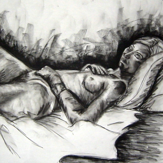 female with pillow